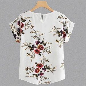 Tops - Floral Asymmetrical Hem Blouse - NWOT